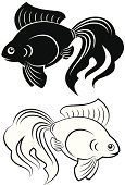 Ilustration,Vector,Abstract,Gold Colored,Swimming Animal,Stencil,Pets,Underwater,Symbol,Sea Life Centre,Sea,Silhouette,Fish,Art,Goldfish,Tail,Nature,Animal,Liquid,Isolated,Decoration,Black Color,White,Biology,Drawing - Activity,Simplicity,Elegance,Transparent,Animals And Pets