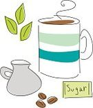 Mint Leaf - Culinary,Coffee - Drink,Coffee Bean,Coffee Cup,Sketch,Doodle,Leaf,Organic,Cartoon,Cup,Packet,Ilustration,Drawing - Art Product,Line Art,Fun,Pencil Drawing,Isolated,Resting,Group of Objects,Black Line,Food And Drink,hand drawn,Illustrations And Vector Art,Relaxation,Drink