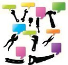Communication,Vector,Information Medium,Hand Tool,Copy Space,Thought Bubble,Wrench,Humor,Equipment,Communication Device,Screwdriver,Hammer,Silhouette,Ilustration,Pliers,Bubble,Construction Industry,Hand Saw,Work Tool,vector illustration,Discussion,Fun,Comic Book,Cartoon,Thinking,Repairing,Speech Bubble,Adjustable Wrench