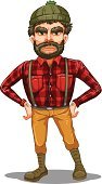 Lumberjack,Red,Effort,Hat,Image,Mustache,Long Sleeved,oldman,Human Face,Beard,Backgrounds,Computer Graphic,Little Boys,People,Clip Art,Men,Jumpsuit,Adult,Jeans,Checked,Standing