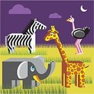 Animal,Safari,Cartoon,Zebra,Elephant,Giraffe,Geometric Shape,Africa,Pattern,Vector,African Culture,Landscape,Ilustration,Ostrich,Humor,Animal Themes,Set,Non-Urban Scene,Symbol,kingdom,Group of Objects,Design,Fun,Serengeti National Park,International Landmark,Characters,Savannah,Plain,Scale,Tropical Climate,Variation,Group Of Animals,Exoticism,Multiple Image,Exploration,Meeting,Zoology,Grass,Multi Colored,Night,Moon,Four Animals,one two three four,Nature,Animals And Pets,Small Group Of Animals,Four Objects,Illustrations And Vector Art