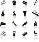 Hair Salon,Symbol,Icon Set,Computer Icon,Hairbrush,Health Spa,Ilustration,Silhouette,Beauty,Razor,Fashion,Cream,Design Element,Human Hair,Metal Clip,Set,Scissors,Hairspray,Vector,Black Color,Sign,Design,Bottle,Hairstyle,Care,Comb,Barber,Art,Shampoo