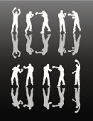 Boxing,Sport,Silhouette,Combat Sport,Fighting,Vector,Conflict,Punching,Men,White,Black Color,Male,Blue,Physical Activity,Activity,Boxing Ring,Design Element,Recreational Pursuit,Digitally Generated Image,Gray,Vertical,Motion,Moving Activity,Leisure Activity,Computer Graphic