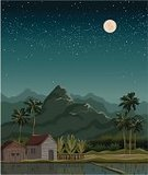 Night,Ilustration,Sky,Hut,Palm Tree,Tropical Climate,Plantation,Mountain Peak,Summer,Hill,Forest,Moon,Tranquil Scene,Full,Water,Scenics,Landscaped,Vector,Season,Asia,Rural Scene,Nature,Agriculture,Tree,Rice - Cereal Plant,House,Star - Space,Mountain,Silhouette,Village