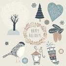 Bird,Christmas,Wreath,Old-fashioned,Retro Revival,Winter,Cute,Garland,Season,New Year's Day,Vector,Holiday,Painted Image,Christmas Decoration,Text,Design Element,Ilustration,New Year's Eve,Gift,Snowflake,Holly,Star Shape,Art,Heart Shape,Computer Graphic,Computer Icon,Backgrounds,Decoration,Christmas Tree,Greeting,New Year,Chinese New Year,Design,fir cone,Label,Abstract