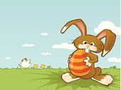Rabbit - Animal,Easter Bunny,Easter,Eggs,Chicken - Bird,Easter Egg,Vector,Baby Chicken,Animal Egg,Horizontal,Cheerful,Holding,Cute,Meadow,Clear Sky,Springtime,Season,Horizon Over Land,Time,Copy Space,Nature,Happiness,No People,Color Image,Spring,Small Group Of Animals,Concepts And Ideas,Holiday