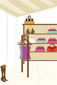 Shelf,Clothing,Store,Indoors,No People,Retail,Absence,Ilustration,Arranging,Color Image,Flooring,Shoe,Hanging,Female Likeness,Fashion,Medium Group of Objects,Multi Colored,Day,Window,Purse,Business,Pair,Elegance,Order,Pattern,Luxury