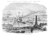 Old,The Past,Paddleboat,Passenger Ship,19th Century Style,Visit,Old Port,Republic of Ireland,Europe,Royal Person,Kingstown,Engraved Image,dun laoghaire,Nautical Vessel,Prince Of Wales,Steamboat Dish,Human Settlement,Ilustration,Antique,County Dublin,1860-1869,State Visit,Mode of Transport,Steamboat,District,Event,Image Created 19th Century,Prince,Old-fashioned,Northern Europe,History,Styles,Image Created 1860-1869,Victorian Style,Harbor