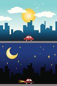 Night,Day,Moon,Sun,Street,Car,Cityscape,Built Structure,Composite Image,Clip Art,Urban Scene,TimeBrief2013,City,Downtown District,Vector,Drawing - Art Product,Building Exterior,Ilustration,Dusk,Cartoon,Modern