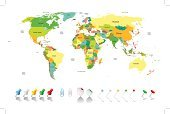 World Map,Globe - Man Made Object,countries,Cartography,Map,Global,Infographic,Earth,Travel,USA,Africa,Oceania,Straight Pin,International Border,Asia,Vector,Politics,Flag,East,Europe,Middle,Thumbtack,Silhouette,The Americas,Australia,continent,South,North,Land,Clip,Island,Ilustration,Antarctica,Bright,Backgrounds,Topography