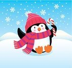 Scarf,Penguin,Candy Cane,Knit Hat,Winter,vector art,Christmas,Snow,Snowflake,Holiday