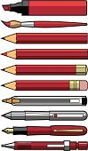 Pencil,Pen,Fountain Pen,Paintbrush,Felt Tip Pen,Red,Ballpoint Pen,Color Image,Vector,Office Supply,Coloring,Nib,Ink,Paint,Writing,Drawing - Art Product,Painting,Set,Collection,Objects/Equipment,Large Group of Objects,Technical Pencil