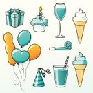 Party Horn Blower,Party Hat,Cupcake,Birthday Cake,Ice Cream Cone,Birthday Present,Muffin,Juice,Wrapping Paper,Balloon,Cold Drink,Drinking Straw,Glass,Wineglass,Birthdays,Alcohol,Food And Drink,Holidays And Celebrations,Objects/Equipment