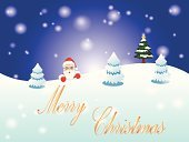 Backgrounds,Happiness,Snow,Christmas,Fun,Santa Claus,Holiday,Celebration,Pine Tree,Greeting Card,Vector