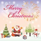 Happiness,Backgrounds,Gift,Firework Display,Christmas,Fun,Santa Claus,Celebration,Holiday,Snowman,Pine Tree,Greeting Card,Vector