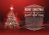 Christmas Card,Christmas Tree,Backgrounds,Red,Christmas,New Year's Eve,Illuminated,Swirl,Star Shape,Banner,Copy Space,Holiday,Greeting Card,Modern,Christmas Decoration,Shiny,Christmas Ornament,Christmas Lights,Decoration,Typescript,Glitter,Invitation,Shape,Scroll Shape,Defocused,Glowing,Ornate,Text