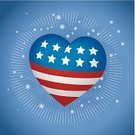 Fourth of July,American Flag,Heart Shape,Voting,Politics,USA,Symbols Of Peace,Election,Recruitment,Love,Red,Unity,nation,Ilustration,Vector,Blue,Star Shape,Glowing,Celebration