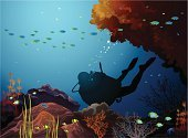 Scuba Diving,Reef,Underwater,Cartoon,Sea,Vector,Coral,Fish,Nudibranch,Wildlife,Nature,Seaweed,Image,Multi Colored,Animal,Blue,Colors,Deep,Tropical Climate,Silhouette,School of Fish,Ilustration,Seascape,Swimming Animal,Animals In The Wild,Bubble,Diving,Water,Life,Summer