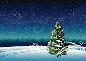 Winter,Sky,Night,Cold - Termperature,Tree,Forest,Ice,Snowing,Frost,Snow,Snowflake,Blue,Star - Space,Year,Season,New,Vector,Christmas,Ilustration,White,Outdoors,Magic,Evergreen Tree,Landscape,Fir Tree,Nature