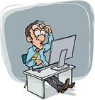 Computer,Problems,Men,Office Interior,Ilustration,Computer Monitor,Working,Occupation,Customer,Internet,Surprise,Eyeglasses,Business,Terrified,Vector,Exchange Rate,Table,Exchanging,Illustrations And Vector Art,Business People,Concepts And Ideas,unexpectedness,Computer Keyboard,Hard Day,Business