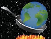 Global Warming,Frying Pan,Earth,Space,Blue,Planet - Space,Fire - Natural Phenomenon,Green Color,Ilustration,Vector,Flame,Star - Space,Concepts,Environment