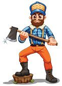 Lumberjack,Men,Forest,Backgrounds,Computer Graphic,Stepping,Hat,Image,Clip Art,Tree,Beard,Cutting,Wood - Material,Jeans,Little Boys,Mustache,People,Lumber Industry,Axe,Tree Stump,Grass,Checked,Adult