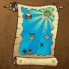 Treasure Map,Map,Treasure,Brigantine,Island,Sailing Ship,Old,Scroll,Nautical Vessel,Parchment,Vector,Compass,Pirate Flag,Ilustration,Star Shape,Cloud - Sky,Sun,Grunge,Dirty,Sandy Brown,Brown,Transportation,Weathered,Objects/Equipment