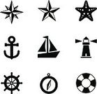Star Shape,Nautical Vessel,Symbol,Lighthouse,Starfish,Simplicity,Black Color,White,Sailing Ship,Sea,Compass,Ship,Ilustration,Travel,Anchor,Vector,Sailing,Isolated,Nautical Star,Summer,Direction