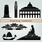 Hong Kong,Symbol,Asia,Famous Place,Ilustration,Black Color,Urban Skyline,Cityscape,Monument,Blue Background,China - East Asia,Isolated,Set,Building Exterior,Vector,Travel,Journey,Architecture,Travel Destinations,Urban Scene