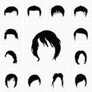 Symbol,Human Hair,Hairstyle,Hairdresser,Silhouette,Computer Icon,Adult,Illustration,Males,Men,Females,Women,Vector,Fashion,Icon Set