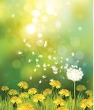 Dandelion,Light - Natural Phenomenon,Landscape,Field,Springtime,Flower,Defocused,Woodland,Day,Summer,Forest,Sun,Weed,Meadow,Green Color,Yellow,Design,Shiny,Pattern,Nature,Leaf,Vector,Scenics,Grass,Backgrounds,Freshness,Easter,Ilustration,Beauty In Nature,Sky,Lawn,Sunlight,Banner,Sunny