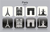 Paris - France,Fountain,Arc de Triomphe,Eiffel Tower,Icon Set,Symbol,France,Street,Gate,Built Structure,Place de la Concorde,Text,Social History,Triumph,Isolated,Cultures,Famous Place,Notre Dame,City,Miniature Painting,Vector,Building Exterior,Monochrome,Tourism,Travel,Set,must-see,Tower,Cathedral,Obelisk