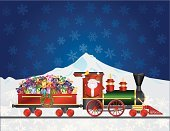 Snowflake,Snow,Backgrounds,Non-Urban Scene,Delivering,Celebration,Candy Cane,Ilustration,Christmas Ornament,Waving,Candy,Cartoon,Gift,Winter,Night,Green Color,Mountain,Ribbon,Steam Train,Santa Claus,Mode of Transport,Drawing - Art Product,Day,Christmas Decoration,Celebration Event,Locomotive,Holiday,Vector,White,Wrapped,Travel,Suit,Christmas,Bow,Season,Transportation,Wreath,flakes,Engine,Decoration,Red