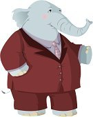 Elephant,Republican Party,Characters,Suit,Animal,Cartoon,Business,Standing,Ilustration,Fun,Anthropomorphic,Illustrations And Vector Art,Fashion,Beauty And Health,Feelings And Emotions,carved letters,Humor,Mammal,odltimer,Concepts And Ideas