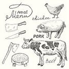 Old-fashioned,Cow,Sketch,Meat,Beef,Chicken - Bird,Livestock,Computer Icon,Vector,Kitchen Knife,Pork,Food,Pig,Menu,Table Knife,Ilustration,Animal,Restaurant,Agriculture,Design Element,Healthy Eating,Cartoon,Eating,Steak,Preparation,Craft,Painted Image,Design,Slice,Computer Graphic,Remote,Axe,Refreshment,Dinner,Group of Objects,butchery,Image,Outline,Organic,Raw Food,Set,Nature,Bacon