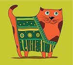 Undomesticated Cat,Sun,Domestic Cat,Orange Color,Multi Colored,Old-fashioned,Pattern,Drawing - Art Product,Creativity,Computer Graphic,Ilustration,Sketch,Abstract,Ornate,Decor,Cartoon,Fun,Design,Single Line,Animated Cartoon,Single Flower,Pets,Young Animal,Vector,Fat,Yellow,Decoration,Style,Animal,Striped,Green Color,Painted Image