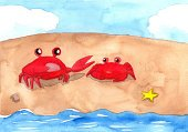 Sea,Watercolor Paints,Watercolor Painting,Relaxation,Backgrounds,Claw,Multi Colored,Fun,Brown,Summer,Island,Crab,Vacations,Computer Graphic,Red,Cute,Nature,Animal,Sand,Beach,Blue,Single Object,Cartoon,Coastline,Ilustration,Heaven,Drawing - Activity