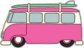 Volkswagen,Bus,Van - Vehicle,Mini Van,Surfboard,Pink Color,Hot Rod - Film Title,Hot Rod,Surfing,Surf,Cartoon,Car,Animated Cartoon,Party - Social Event,Beach,Cruise Ship,Sunset,Touring Car,Driving,Drive,Coastline,Driveway,Vacations