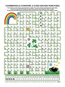 Crossword Puzzle,Word Game,St. Patrick's Day,Education,Puzzle,pot-of-gold,Mystery,Clover,Vector,Holiday,Ilustration,Computer Graphic
