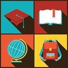 Education,Backpack,Symbol,Flat,Learning,Cap,Square,Square Shape,University,Mortar Board,Back - Furniture Part,Planet - Space,Flat Design,Design,Globe - Man Made Object,Encyclopaedia,Study,Vector,Poster,Wisdom,Bookmark,Sparse,Banner,Hat,Teaching,Sphere,Packing,Set,Graduation,Satchel - Bag,Diploma,Bag,Ilustration,Earth,Sign,Backgrounds,Frame,Postcard,Physical Geography,Reading,Placard,Computer Graphic,Greeting Card