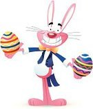Easter Bunny,Easter Egg,Rabbit - Animal,Cartoon,Animal,Smiling,Cheerful,Animal Ear,Happiness,Ilustration,Standing,Vector,Isolated On White,Holiday,White Background,Showing,Positive Emotion,Multi Colored,Facial Expression