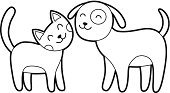 Domestic Cat,Dog,Pets,Line Art,Smiling,Sketch,Happiness,Child,Cute,Art,Simplicity,Cartoon,Black Color,Characters,Animal,Vector,Ilustration,Collection,Felt Tip Pen