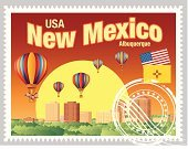 New Mexico,Cultures,USA,Hot Air Balloon,Us Postage,American Flag,Rubber Stamp,Travel,People Traveling,Tourism,Postage Stamp