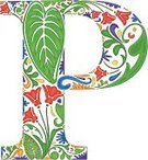 Letter P,Nature,Leaf,Sign,Green Color,Swirl,Typescript,Ilustration,Vibrant Color,Symbol,Alphabet,Floral Pattern,Capital Letter,Yellow,Blue,Old-fashioned,Orange Color,Purple,Multi Colored,Red,Ornate