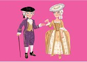 Looking At Camera,Education,Dress,Clothing,Full Colour,History,Smiling,18th Century Style,Fashion,Vector,Ilustration,Couple