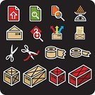 Gift,Box - Container,Weight Scale,Letter,Package,Envelope,Crate,Color Image,Scissors,Illustration,No People,Vector,Mail,Adhesive Tape,Icon Set,Gift Box,Postal Icons