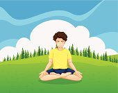 Yoga,Male,Yellow,Relaxation,One Person,Green Color,Concentration,Outdoors,Cloud - Sky,Pine,Plant,People,Healthy Lifestyle,Blue,Stretching,Slim,Image,Tree,Hill,Sky,Teenagers Only,Little Boys,Meditating,Teenager,Triangle,Men,Computer Graphic