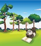 Forest,Picture Book,Fantasy,Leaf,Tree,Image,Outdoors,Blue,Plant,Tropical Rainforest,four-legged,storyteller,Book,Sky,Green Color,Woodland,Animal,Thick,Space,Day,Library,Sheet,non-fiction,Bear,Page,Computer Graphic,Animal Hair,Reading,Panda,Storytelling,Imagination