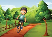 Cycling,Child,Bicycle,Little Boys,Footpath,Land,Plant,Mountain,Street,Tree Trunk,Sky,Shade,Grass,Computer Graphic,Biker,One Person,Male,Men,Wood - Material,Hill,Dirt,Cloud - Sky,Fence,Weed,Tree,People,Brown,Small,Outdoors,Image,Green Color