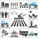 Farm,Symbol,Agriculture,Tractor,Field,Crop,Corn - Crop,Land,Silhouette,Wheat,Seed,Whole Wheat,Tree,Food,Harvesting,Sign,Land Vehicle,Plant,Sun,Windmill,Vector,Leaf,Summer,Set,Growth,Black Color,Design Element,Collection,Ilustration,Nature,Animal
